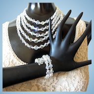 Vintage Clear Crystal Bead Parure - Necklace, Bracelet, and Earrings