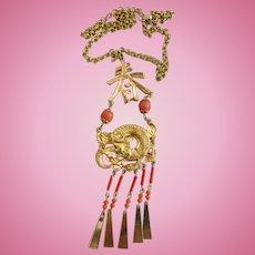 Vintage Signed ART Asian Dragon Pendant Necklace