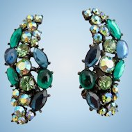 Vintage Signed Art Blue Green Cabochon Climber Clip Earrings