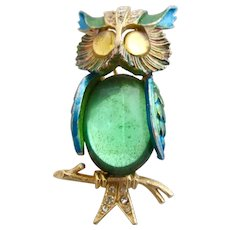 Vintage ART Green Jelly Belly Owl Pin