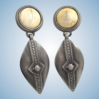 Vintage Ben-Amun Southwest Silver Tone Drop Earrings