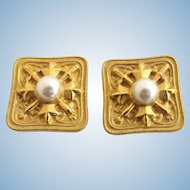 Vintage Ben-Amun Gold Tone Heraldic and Faux Pearl Clip Earrings