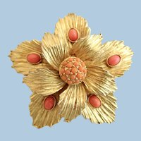 Vintage Benedikt Gold Tone and Orage Flower Brooch