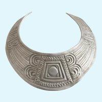 Vintage Ben Amun Tribal Pewter Tone Metal Bib Choker Necklace