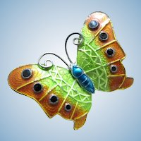 Vintage Sterling Silver Brightly Colored Enamel Butterfly Pin