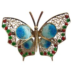 Vintage Butterfly Pin 800 Silver Gilt Enamel Filigree