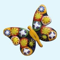 Vintage Millefiori Butterfly Brooch