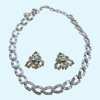 Vintage Bogoff Light Blue Rhinestone Loop Necklace and Earring Set