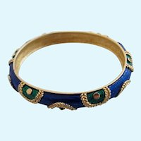 Vintage Boucher Blue Green Enamel Bangle Bracelet 9138B