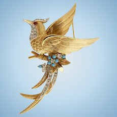 Vintage Large Boucher Bird Pin #7471 in Gold Tone