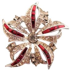 Vintage Boucher Clear and Red Rhinestone Flower Pin  #6051