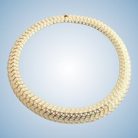 Vintage Boucher White Enamel and Gold Plated Web Design Choker Necklace