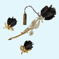 Vintage Boucher Ebony Wood Rose Pin and Clip Earrings Set
