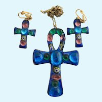 Vintage Ruth Buol Christian Cross Pendant and Clip Earrings