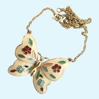 Vintage Capri Enamel Flowers Butterfly Pendant