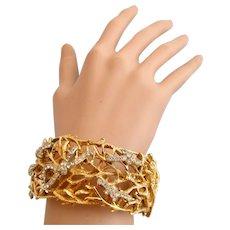Vintage Castlecliff Gold Tone Vine Clamper Bracelet