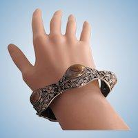 Vintage Chinese Export Sterling Silver Filigree Stone Cabochon Link Bracelet