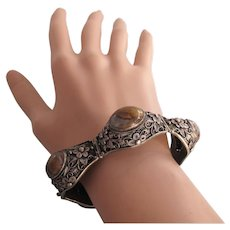 Vintage Chinese Export Silver Filigree Stone Cabochon Link Bracelet