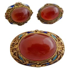 Vintage Chinese Export Gold Washed Sterling Carnelian Cabochon Brooch and Clip Earring Set