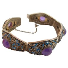 Vintage Chinese Export Sterling Enamel Bracelet with Amethyst Stones