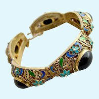 Vintage Chinese Export Gold Washed Sterling Silver Onyx Cabochon Bracelet