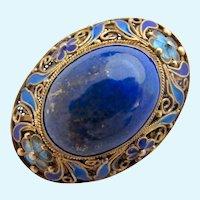 Vintage Chinese Export Lapis Lazuli Cabochon Silver Enamel Brooch