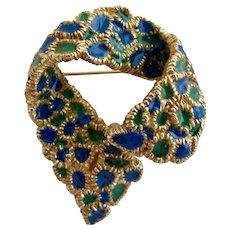 Vintage Ciner Blue and Green Enamel Bow Brooch