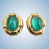 Vintage Ciner Glass Flawed Emerald Clip Earrings