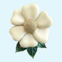 Vintage Ciner Creamy Enamel Flower Brooch