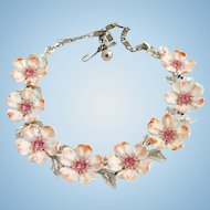 Vintage Lisner Pink Dogwood Flower Necklace