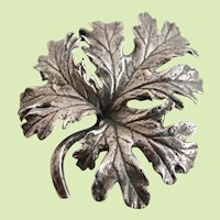 Vintage Cini Sterling Oak Leaf Brooch