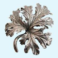 Vintage Cini Sterling Oak Leaf Brooch