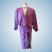 Vintage Norma Walters 1980's Silk Fuchsia Dress