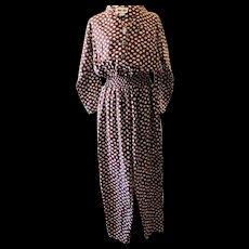 Vintage Brown Polka Dot Rayon Jumpsuit
