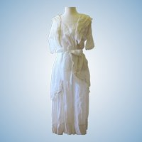 Antique Edwardian White Cotton Tea Dress