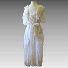 Antique Edwardian White Cotton Tea Dress