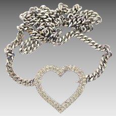Vintage Silver Tone Rhinestone Heart Belt with Heavy Curb Chain