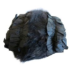 Vintage / Antique Black Satin and Fur Women's Muff