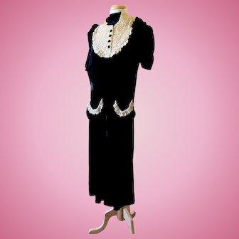 Vintage 1940's New York Creation Dress Institute Black Velvet Dress