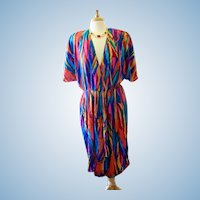 Vintage Caron Chicago 1980's Colorful Dress