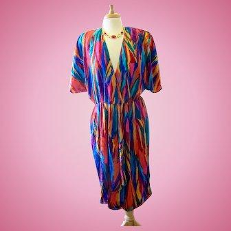 Vintage Caron Chicago 1980's Colorful Dress