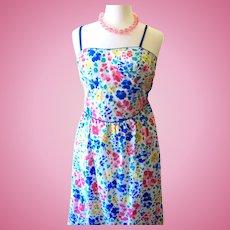 "Vintage LANZ ""California Poppy"" Brand Colorful Flower Sundress - Size 8"