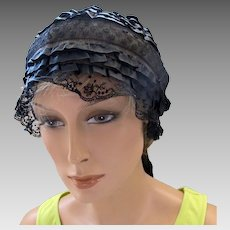 Antique Boudoir Sleeping Cap in Black Silk and Netting