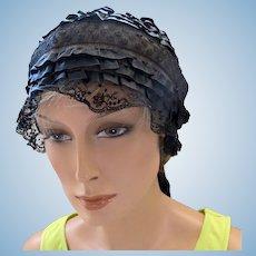 Antique Boudoir Sleeping Cap in Black Silk and Netting