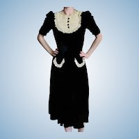Vintage 1940's New York Creation Dress Institute Black Velvet Dress