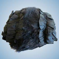 Antique Black Satin and Fur Women's Muff