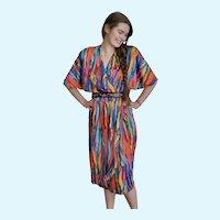 Vintage Caron Chicago 1980's Colorful Wrap Dress