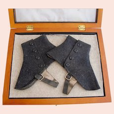 Antique Gray Spats in Display Case