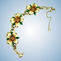 Vintage Coro Enamel Dogwood Flower Bracelet