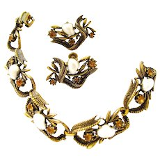 Coro Faux Pearl Antiqued Gold Tone Bracelet and Earring Set - Book Piece